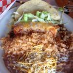 Taco, Enchilada, rice & beans!