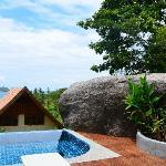 A big sculptural concrete mound provides privacy