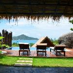 View from the outdoor living area, over the pool and out over Koh Tao
