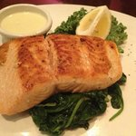 salmon on spinach
