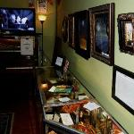 Other haunted items on display, with local artwork on sale.