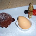 soft centered chocolate cake with mandarin ice cream