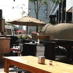Pizza oven and service counter
