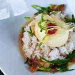 BACON + EGGS  tempura egg | white rice | bacon dashi | sambal