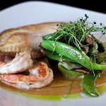 PAN-SEARED TILAPIA  shrimp | shiitake | baby bok choy | thai basil-shrimp emulsion