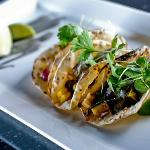 VEGETABLE TACOS  corn | cactus | squash | salsa verde | huitlacoche crema