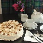 Home made maple & walnut gateau