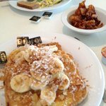 Huge portions--check out the French toast and bacon