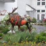 Painted Moose Sculpture