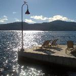 Lounge chairs abutting Lake George