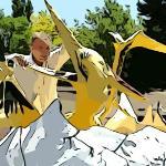 Flinstone's Bedrock City in AZ - Cartoon Version of Photo
