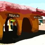 Flinstone's Bedrock City in AZ - Cartoon Version of Photo