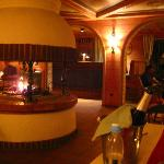 Lobby at Night With Fireplace