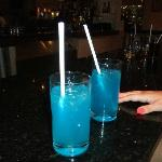 delicious Blue Lagoons from the Lobby Bar