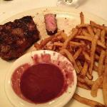 NYC Stripsteak with Sweet potato fried and Red Wine Sauce