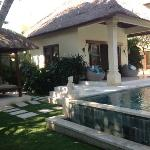 pool bungalow and relaxing day bed with fan
