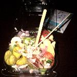 My salad - using the coffee stirs from the Hilton to eat it. Needless to say I gave up after a