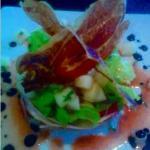 ensalada de melon y jamon con vinagreta de frutas