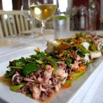 Grilled seafood - shrimp and grilled calamari on a bed of greens tossed with peppers and beans