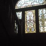 stained glass window on the beautiful stairway