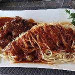 Sanglier en sauce très copieux et bon (menu à 25 euros)