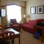 Very comfortable. Nice kitchen. Hotel serves breakfast down off lobby & it's quite extensive.