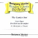 Winner of the Best B & B in Montgomery, 2012!