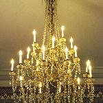 One of the dazzling chandeliers