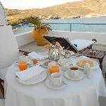 Breakfast on the balcony overlooking the sea (honeymoon suite)