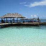 The jetty and Dhoni