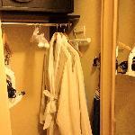 Closet with robe, ironing kit, safe