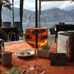 sipping an Aperol Spritzer on the terrace