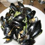Exmouth mussels cooked in leek & cider broth