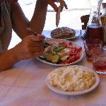 Egg plant and tzatziki salads