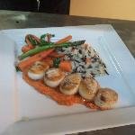 Pan seared scallops, roasted red pepper puree, wild and short grain rice