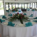 Restaurant set up for our reception.