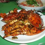 Kam heong crabs, steamed prawns