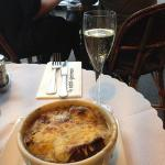 French Onipn soup and Champagne