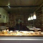 cheese display in front window