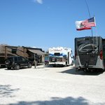 Our small RV at the waterfront site,