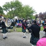 The pipe band playing at the street fair