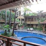 The pool area from the restaurant