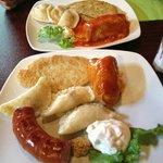 Perogies, Potato Pancakes, Polish Sausage and Cabbage Rolls.