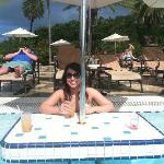 Great tables in pool- read/drink while getting sun but staying cool
