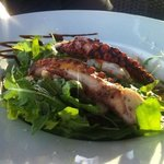 Fresh salad with octopus and shrimps
