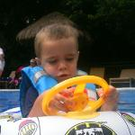 grandson Alfie in the pool