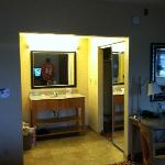closet and bathroom vanity area