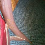 The legs of the desk chair. Rusted.