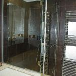 Shower and heated towel bar