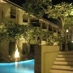 View from the end of the hotel pool area at night